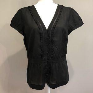 Ann Taylor LOFT black short-sleeve blouse, Size 10